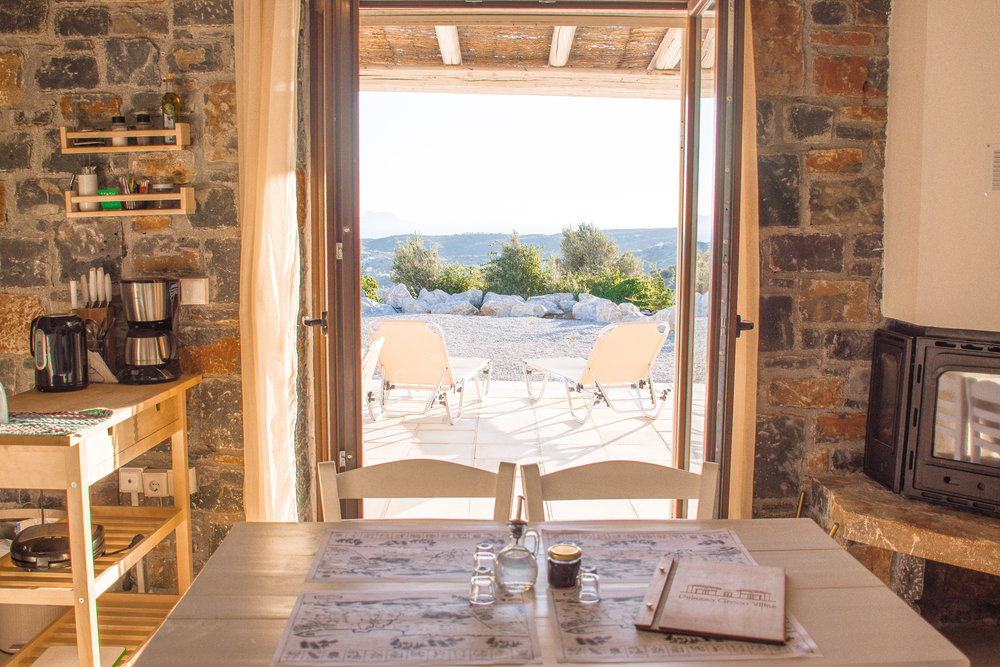 Open these giant french doors and sip raki inside while watching the sun set on the ocean.