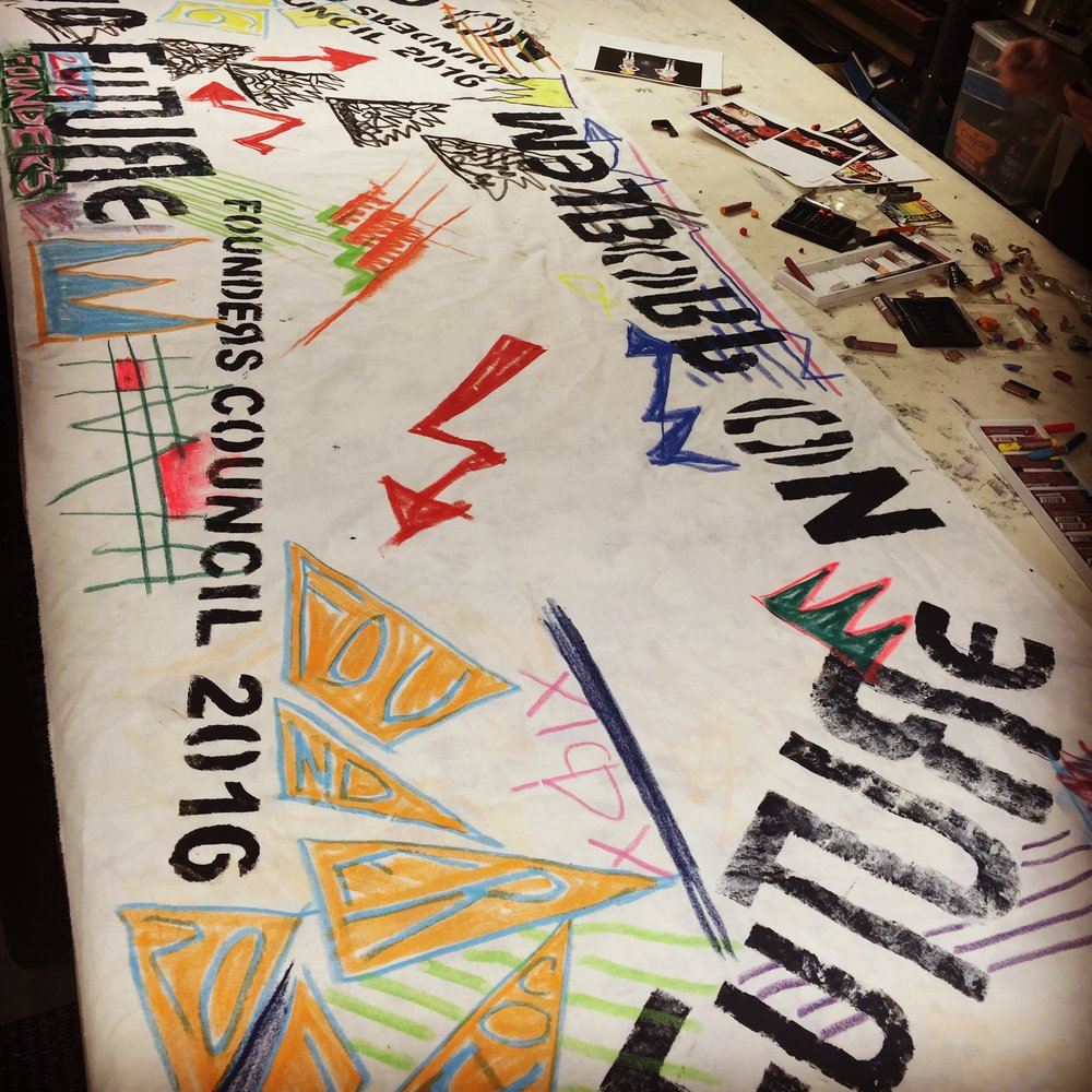 Creating Details - In the studio handcrafted, bespoke details that we used for table runners and costume pieces.  Channeling Vivianne Westwood couture for our wild punk messaging styles.