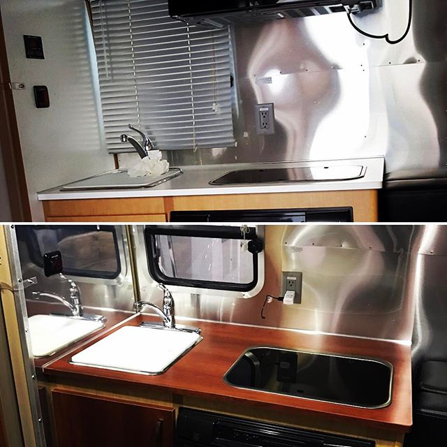 Tired of your plain Jane interior? We added some new Formica and continued the aluminum backsplash to the left of the counter. Small job with a big impact. Hope y'all like it! The owner sure did. #airstreamshop #airstream #spartanaircraftcompany #tinyhouse #tinyliving