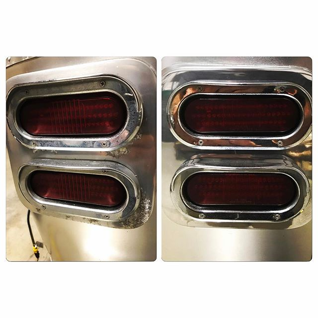 The tail lights on this 2007 Airstream Safari were in pretty rough shape. Nothing a strip and polish can't fix though. #airstreamshop #airstreamrenovation #airstream