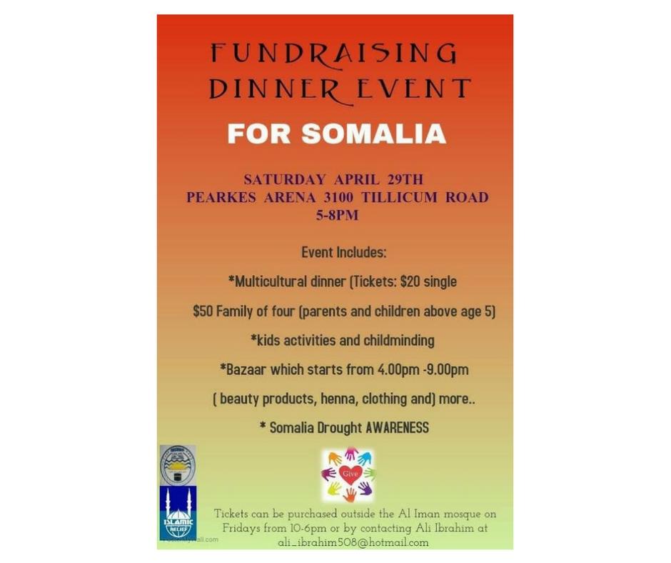 4/29 - Fundraiser Dinner Event For Somalia, Victoria, British Columbia