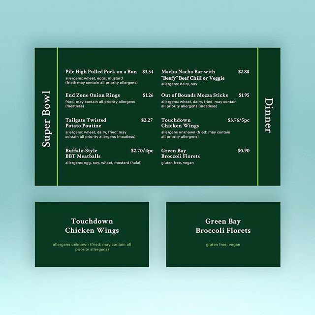 #SuperBowl #Dinner digital #menu and identifiers for @westernufood #touchdown #chickenwings #greenbay #branding #simplicity #green