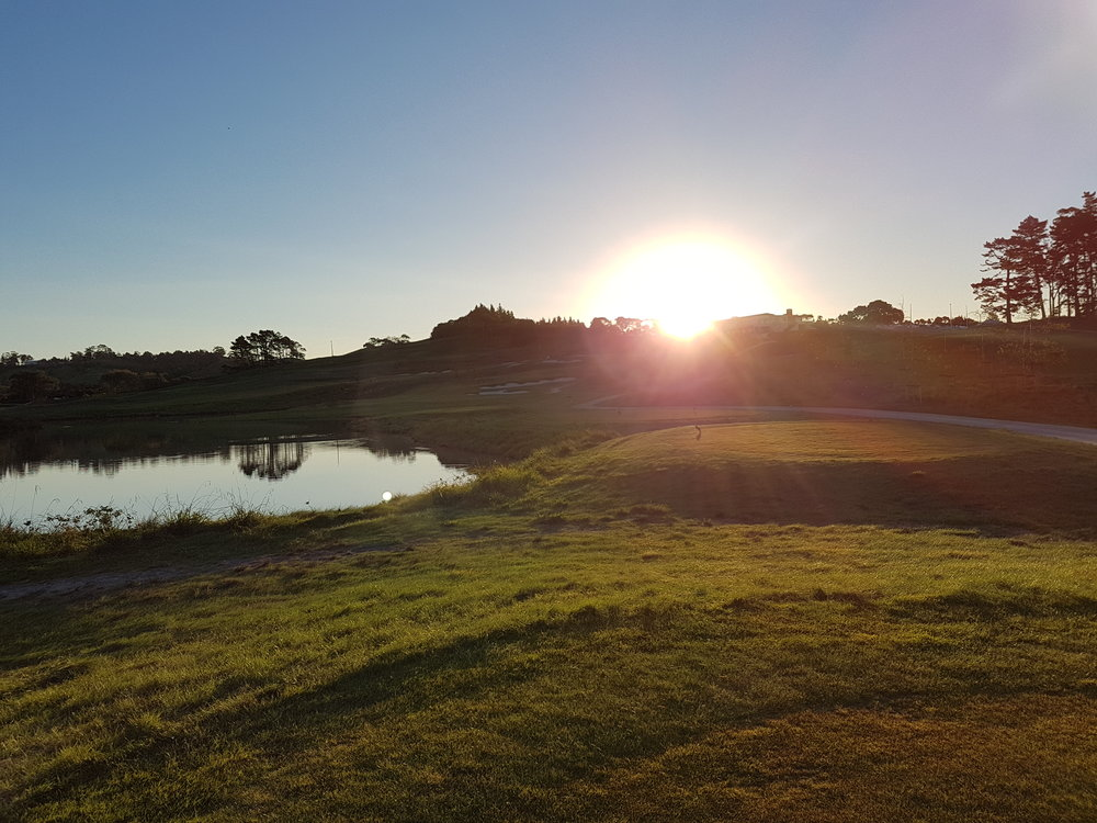 The beautiful sunset as you head to the 9th after a quick 9 hole golfing treat at Wainui Golf Club