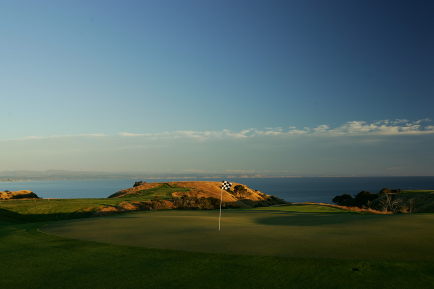 The view from the 15th green at Cape Kidnappers