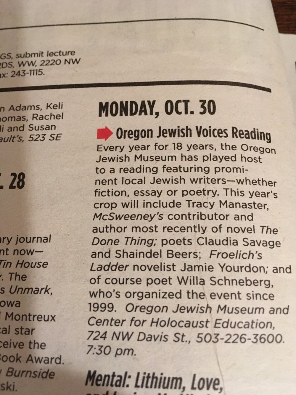 """Claudia's reading at the Oregon Jewish Museum was listed as """"Highly recommended"""" in the Willamette Week."""