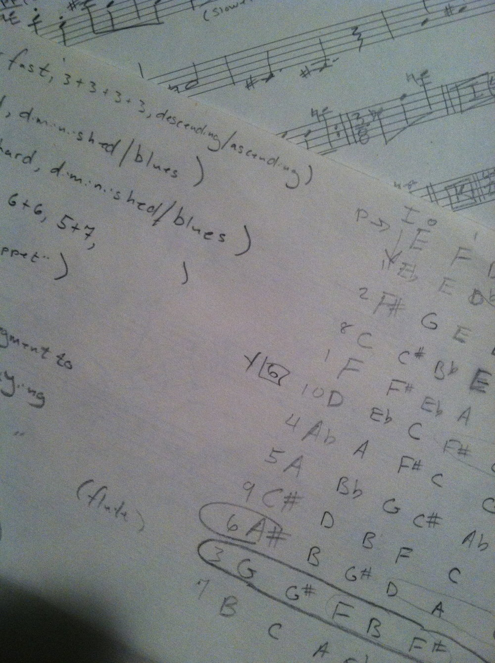 Sketches for a composition of John's fusing the twelve-tone system with jazz riffs.