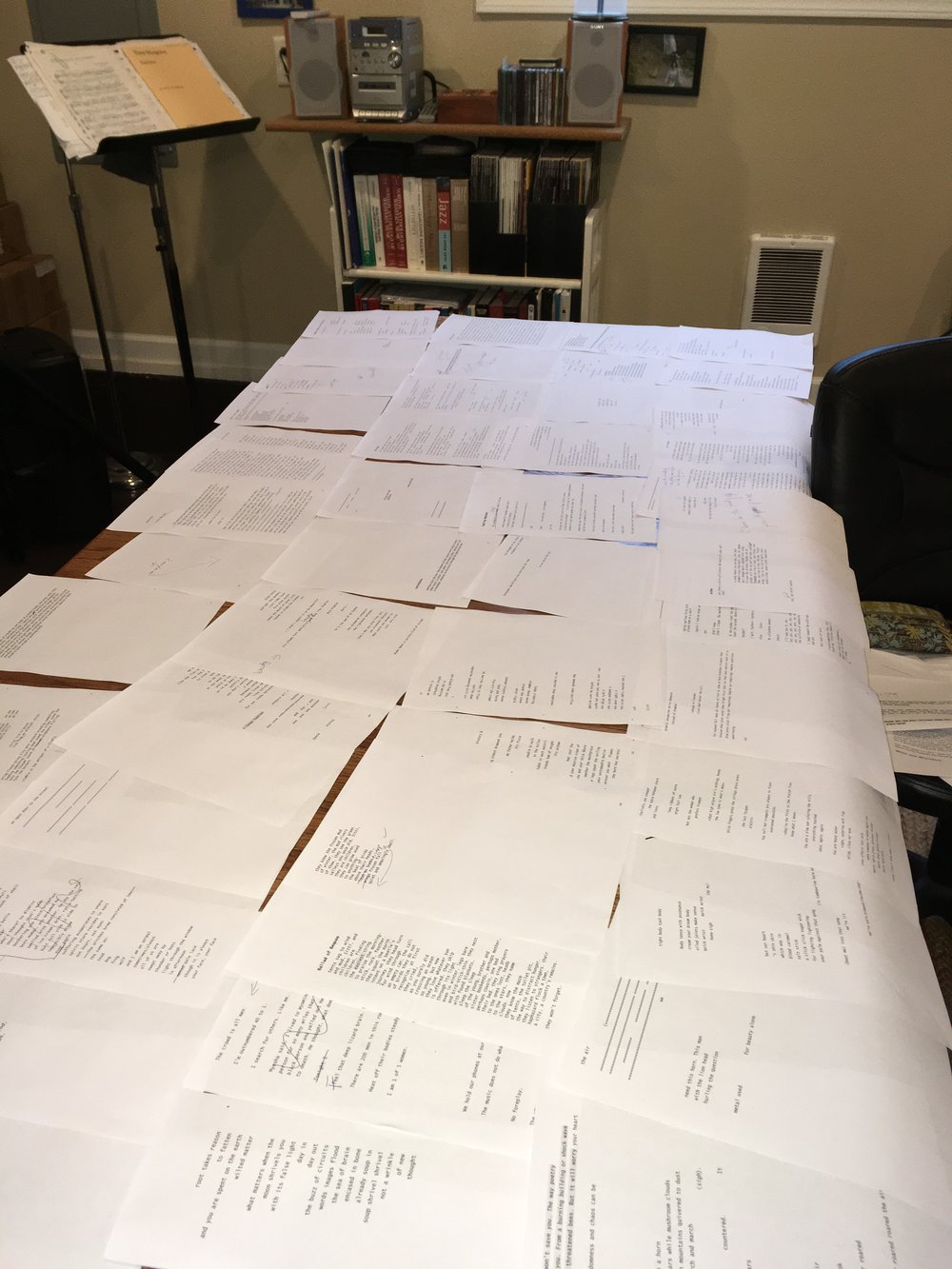 Pages (and pages) of drafts for Claudia's new book on the longest table in the world.