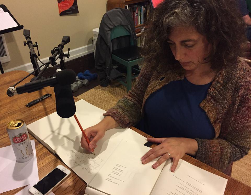 Claudia recording Daniel Brandes piece