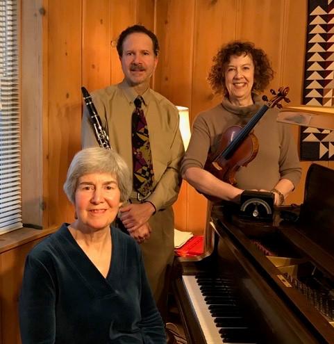 Clockwise from top left: Mitch Blatt, clarinet;Nanette Goldman, violin; Mary Hunt, piano
