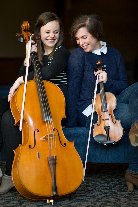 Olivia Diercks, cello and Karla Colahan, violin