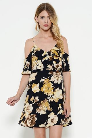 Flowy Floral Cold Shoulder Dress $38