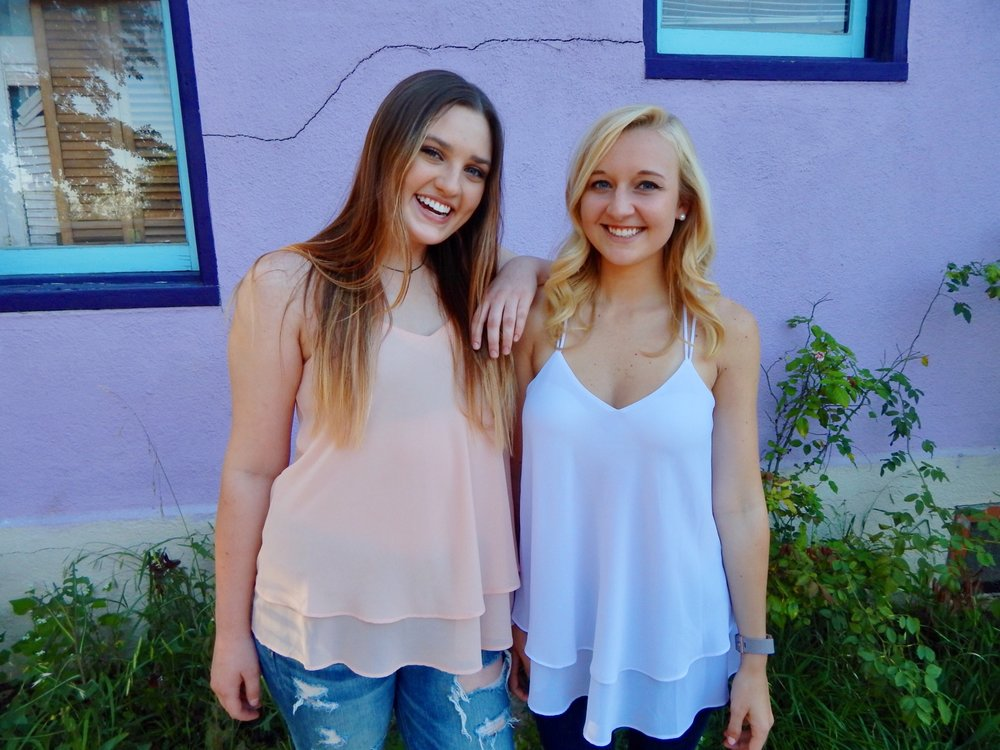 Model in white:  @kzinsel , Double Layer Strap Tank in Blush and White $34
