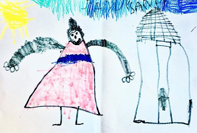 Nova 3 y/o draws a scene with mom, her house 🏡 the sun ☀️ and sky. I like how she took the Doodlebugs dress lesson and really ran with it, incorporating all these other elements. #artkids #howtodraw #childrenartist #artcrafts #parentingtips #parentinghacks #preschooler #mykidsrule