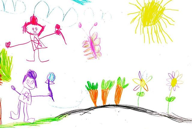 Nova 3 y/o draws a lovely outdoor scene, with flowers 🌺 carrots 🥕 butterflies 🦋 mommy and herself. I love the star ⭐️ tshirt design! 1. #artkids #kidsart #doodlebugsdrawingschool #howto #kidsactivities #craftideas #kidscrafts #childrensart #howtodraw #mykidsrock