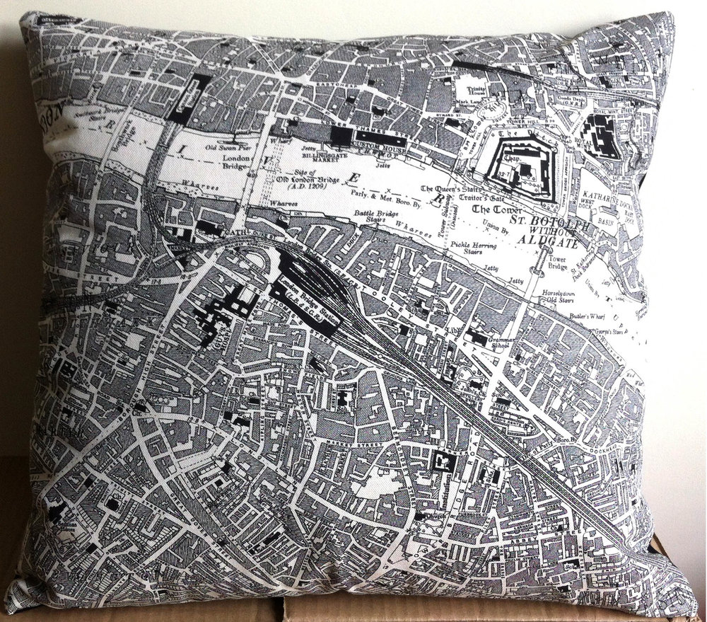 London Bridge & Bermondsey Street . Using left of   One of Fiona's   map tea towels Design No. 50