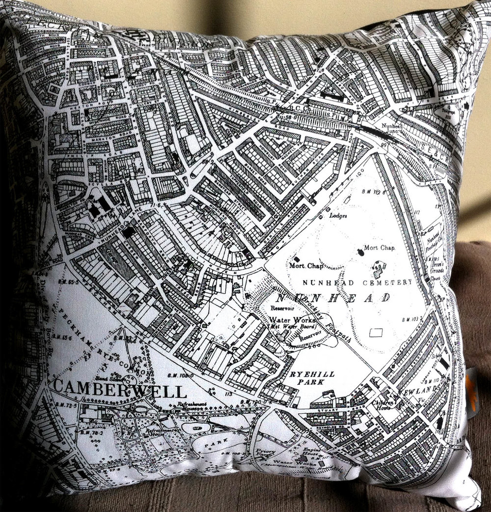 Peckham Rye and Nunhead . Using middle section of   One of Fiona's   map tea towels Design No. 10.