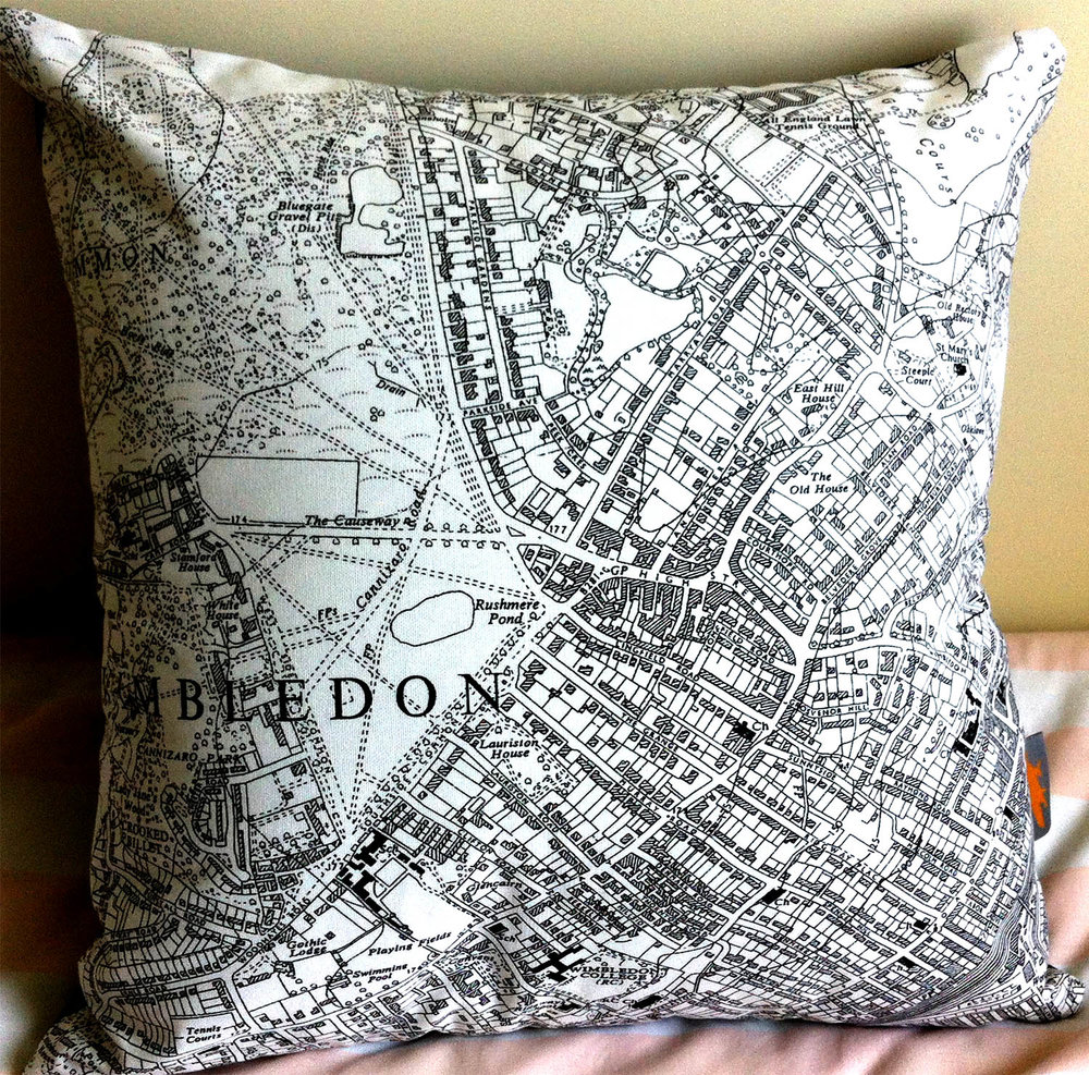 Wimbledon Village .  Using the bottom half of   One of Fiona's   map tea towels Design No. 37.