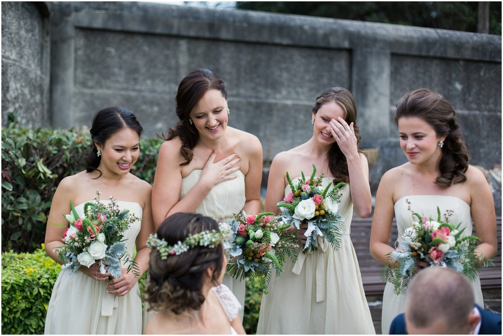 excited brides maids at SIMMER ON THE BAY WEDDING, WALSH BAY, SYDNEY