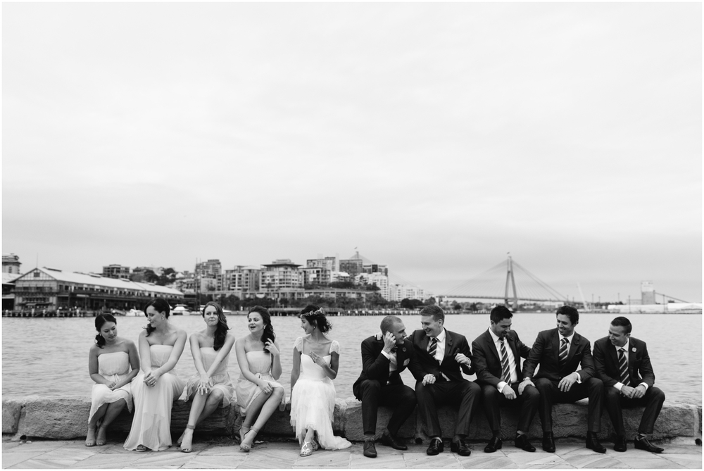 The whole wedding party with a view. SIMMER ON THE BAY WEDDING, WALSH BAY, SYDNEY