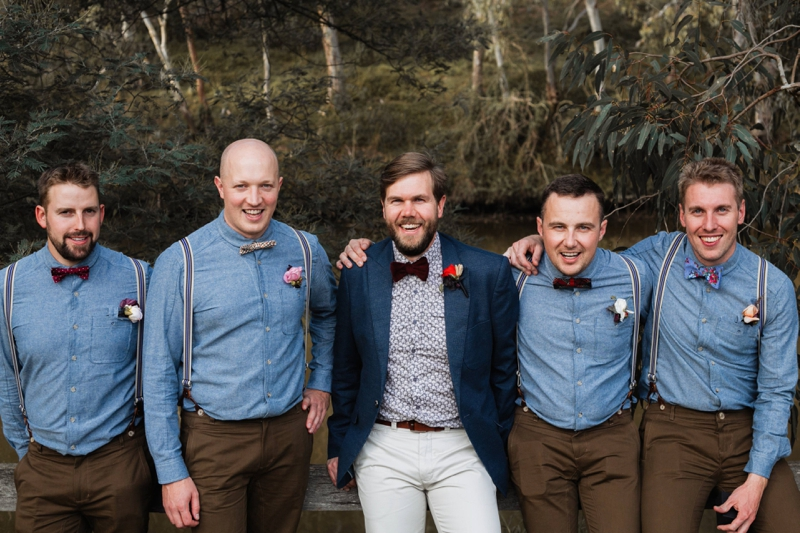 Cameron and his groomsmen before THE FARM CAFE WEDDING Abbotsford, Melbourne