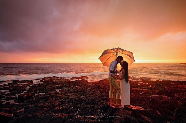 OK there are so many beautiful places here on the big Island of Hawaii -if you were to get married or have your vows renewed what kind of setting would you choose?! - for me I would actually probably double dip ;) Have a small intimate Vow renewal on the beach.  Then head up the mountain to a Lush green piece of heaven or to a waterfall!  Actually it would be up to my wife 😜 •this shot was taken during on and off rain. Such an ahhhhmazing beautiful couple! Congratulations!  @nickpettet & @ivona.kimovska • • #bigislandphotographer #hawaii #sunsetwedding #destinationwedding #intimatephotography #elopementphotographer #destinationweddingphotography #weddingplanner #weddingideas #weddinginspo #ig_oahu #weddingrings #weddingblog #weddingblogger #weddingplanning #loveauthentic #junebugweddings  #bridalphotographer #couplesphotography #engagementphotos