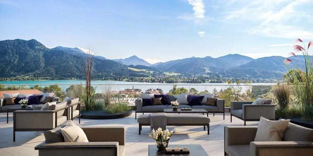 Die Dachterrasse des Hotels im Quartier Tegernsee - Visualisierung