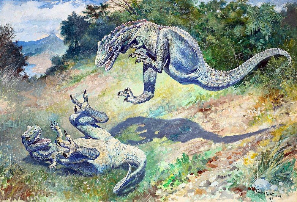 """Charles R. Knightin maalaus """"Leaping Laelaps """" vuodelta 1897 esittää eläväisiä Dryptosauruksia. Kuva:Wikimedia Commons."""