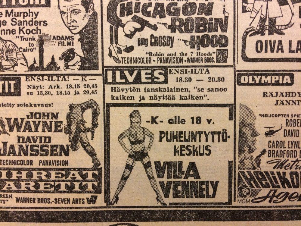 Tampereen elokuvatarjontaa joulunalusviikolla 1968. Kuva Aamulehdestä.