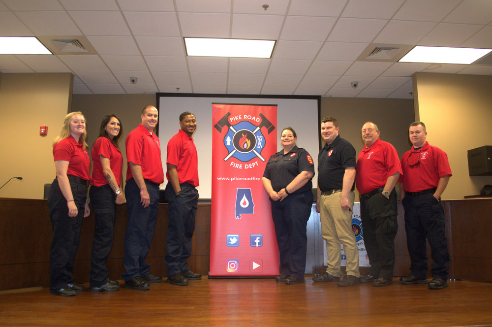 Basic EMT class, L to R: Patsy Hood, Kristi Owens, Joshua Palmer, D'Angelo Dancy, Dana Grubbs, Instructor, Mark Norris, Instructor, Mike Norris, and Drew Krantz (Not pictured, Fire Fighter Sage Golden)