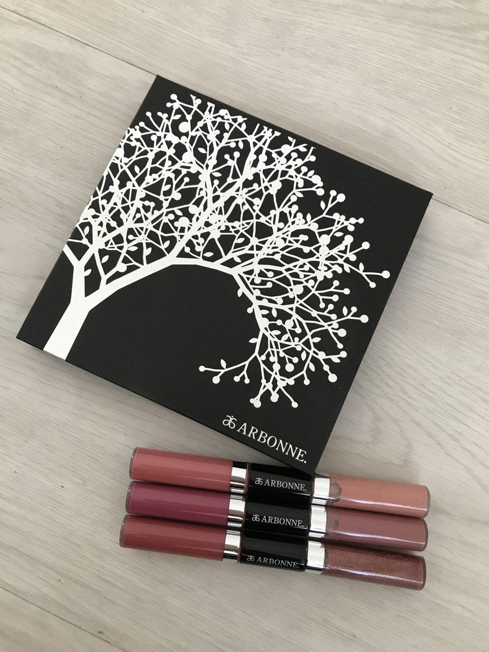 Arbonne Starlight Glow Mutli-Use Bronzer, Blush + Highlighter Palette ($64,  arbonne.com ) and Rose All Day to Night Lip Set ($60,  arbonne.com )