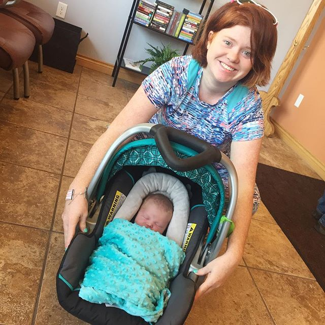 One of our massage therapists will be back from maternity in a few weeks! She stopped in with her almost 3-week old Clara Belle today!! 💗🎀 #chiropractic #grandhaven #massage