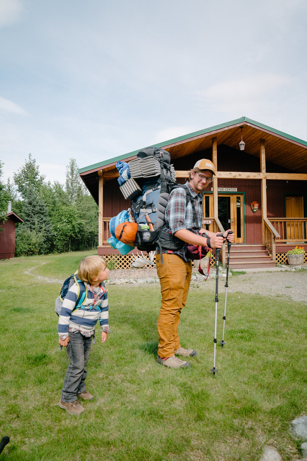 The joys of backpacking with kids: I carry Margi + food, water, and bear canister, David carries everything else. Almost all of our gear is ultralight, and still both packs weighed 50 lbs.