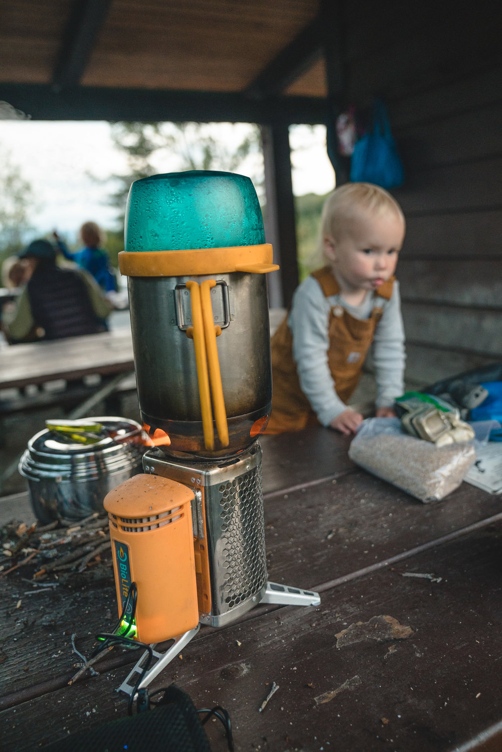 This BioLite stove is just about our favorite thing ever. Burns twigs so you don't have to carry fuel, boils water quickly, and you can even use it to charge devices. It's The Best.