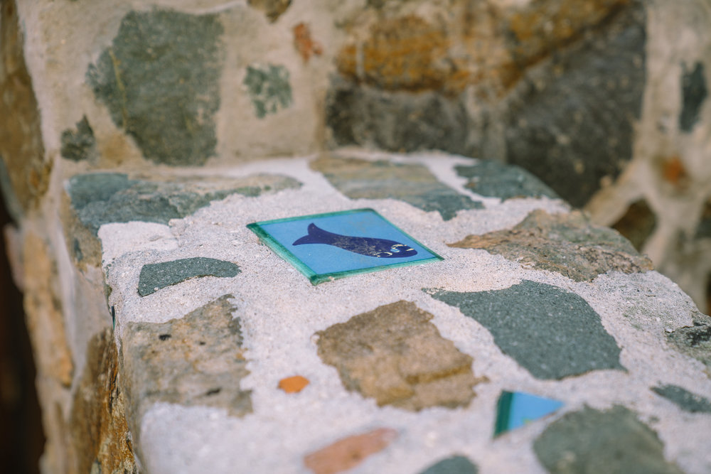 At our B&B, Treetops. These amazing tiles were salvaged from Laurance Rockefeller's estate near Caneel Bay.