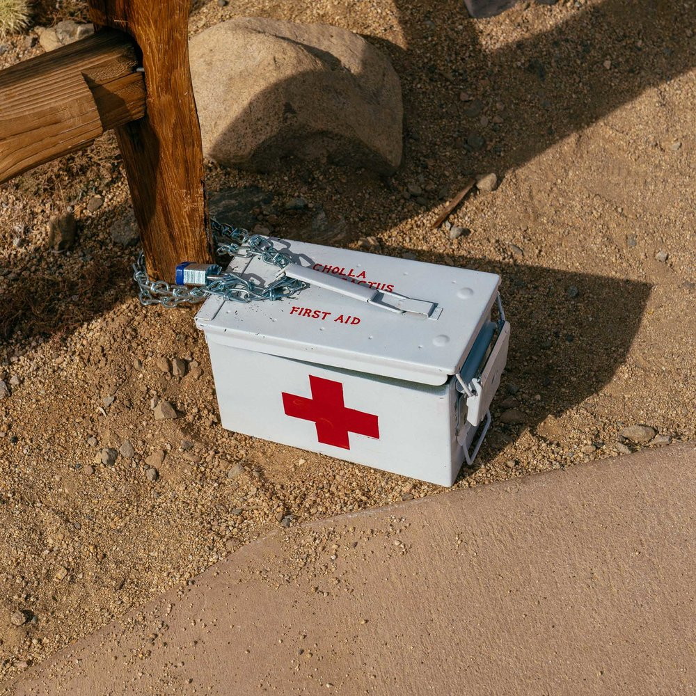Smartly, first aid supplies were provided at the trailhead.