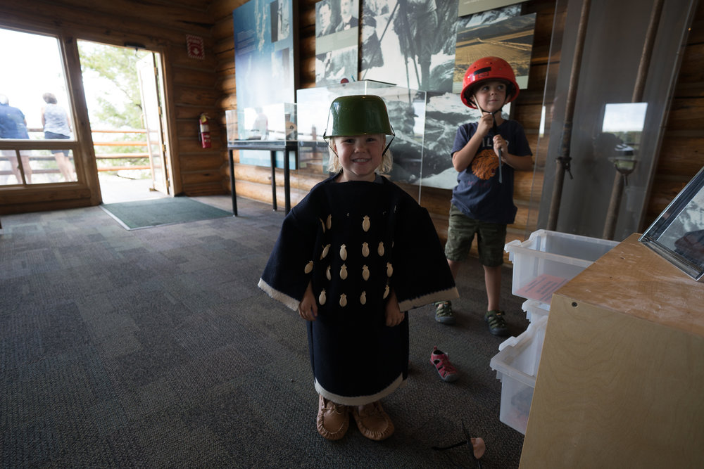 Black Canyon's visitor's center was off the chain! They had awesome activity bin, including dress-ups (Margie was obviously a big fan), rock samples, and a very disconcerting scat identification game.