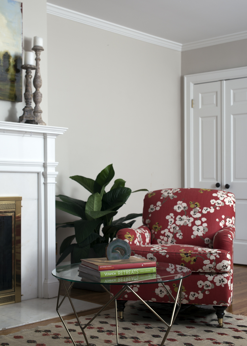 Red floral print living room chair