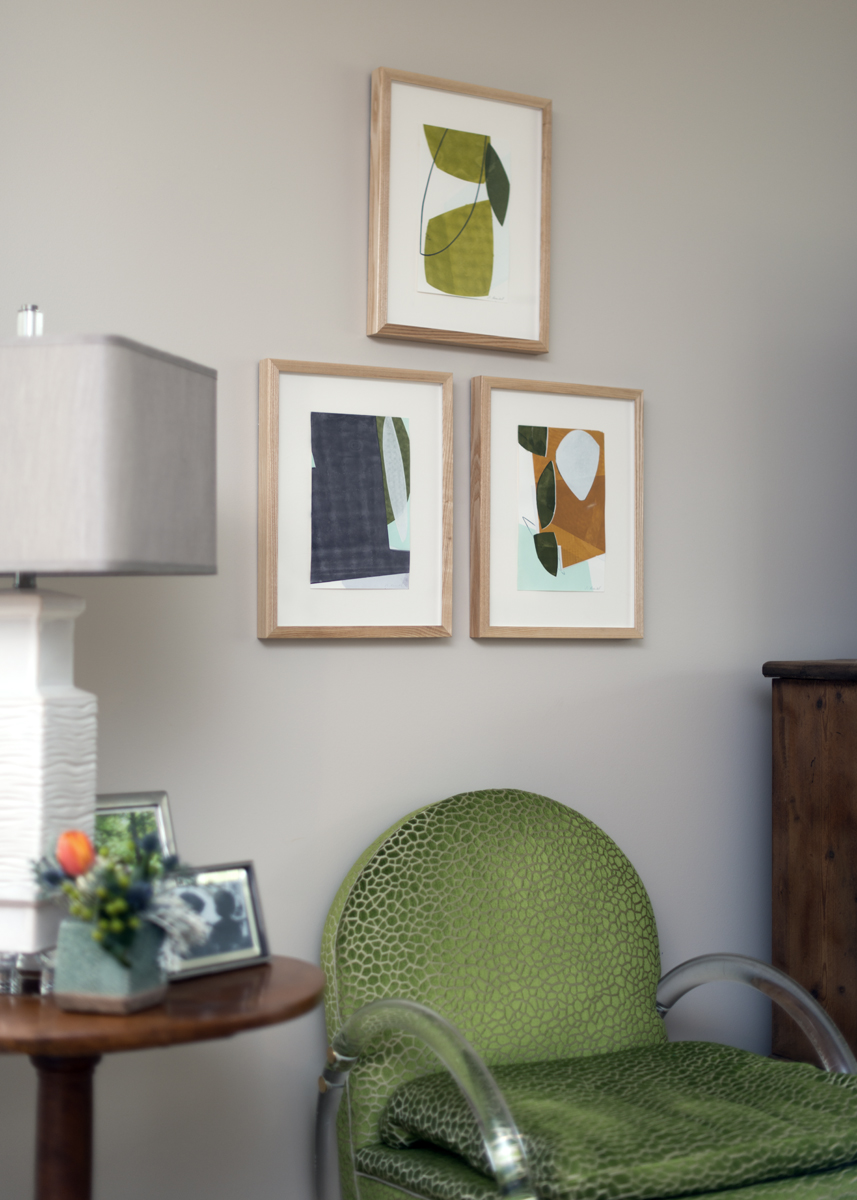 Green chair and wall decor