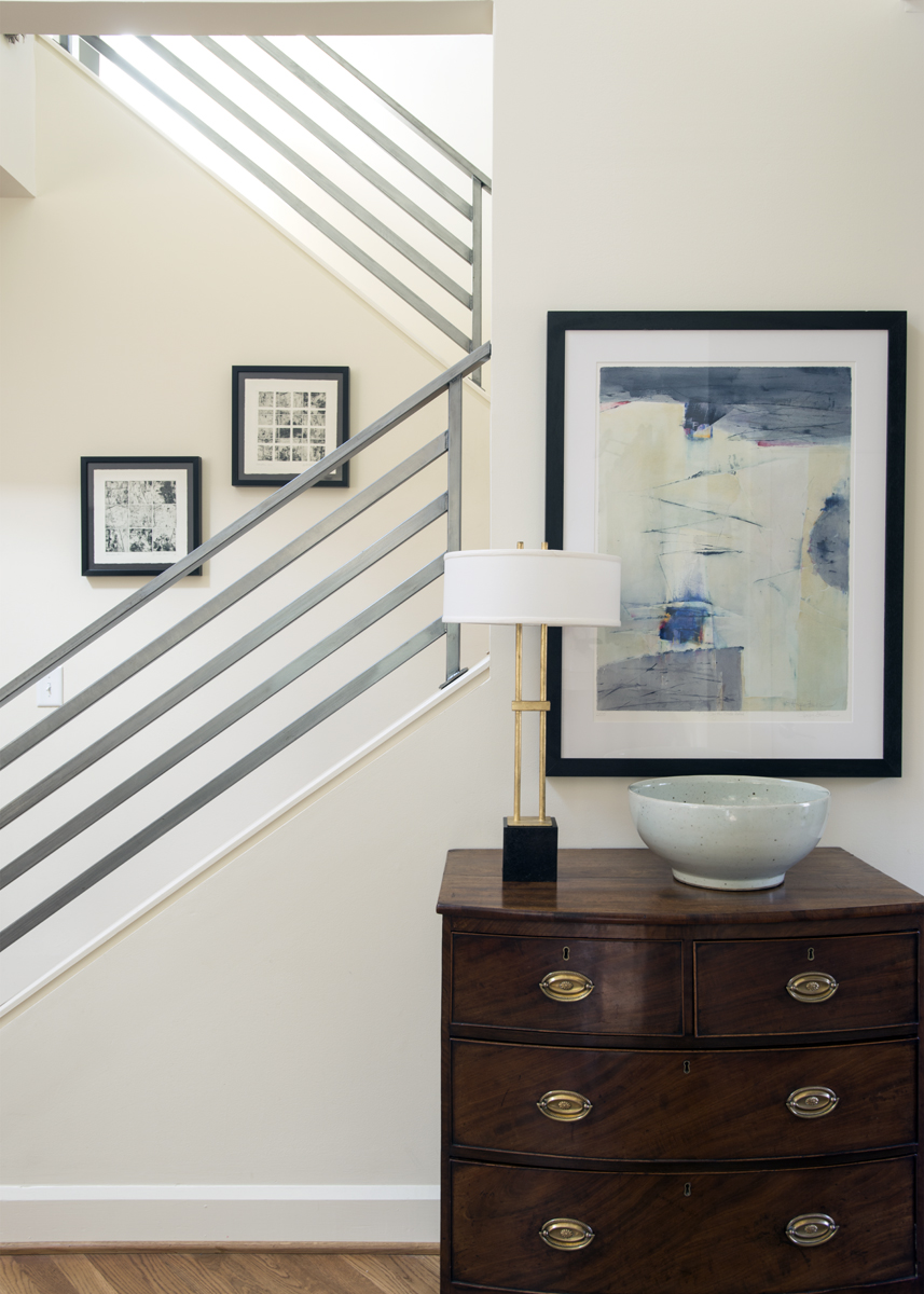 Stair railing and table decor