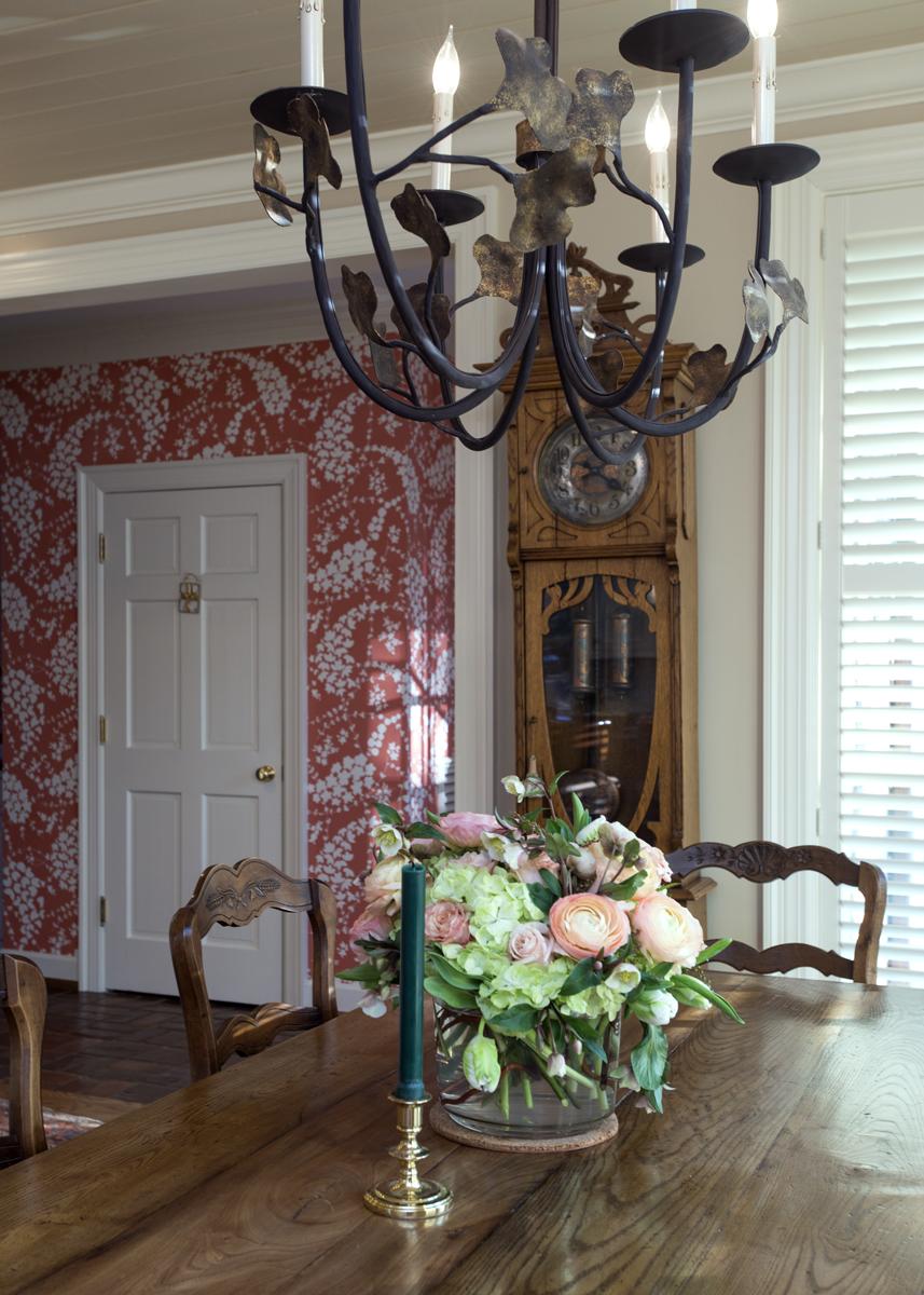 Dining room lighting, bold wallpaper