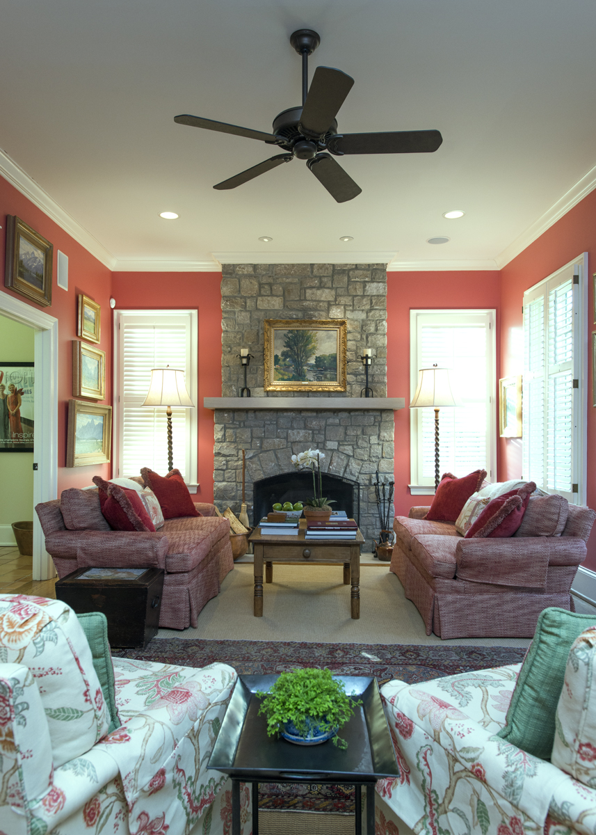 Coral and red living room