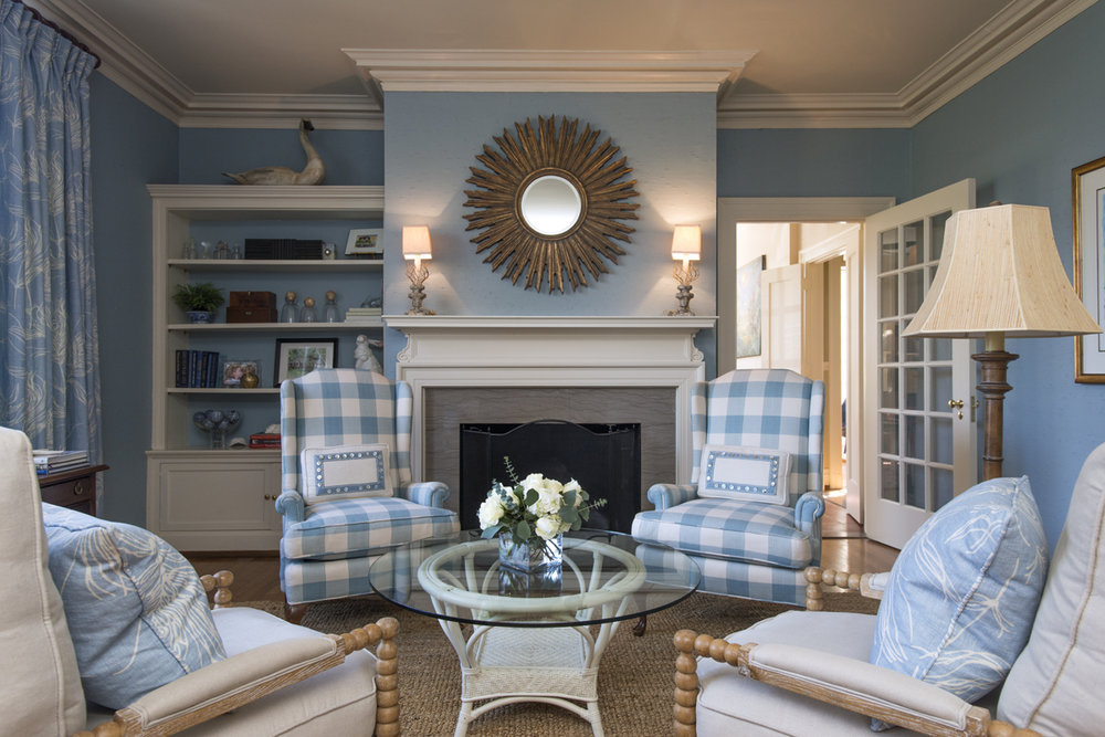 Light blue gingham living room