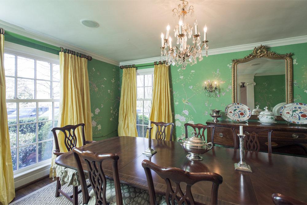 Green wallpaper formal dining room