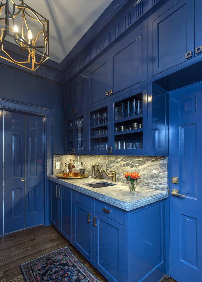 Blue butler's pantry cabinets