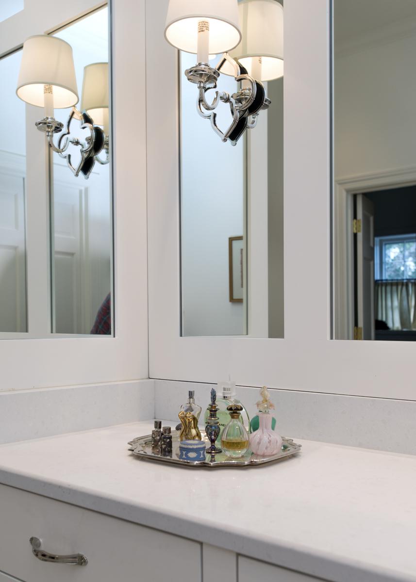 White bathroom vanity, lighting