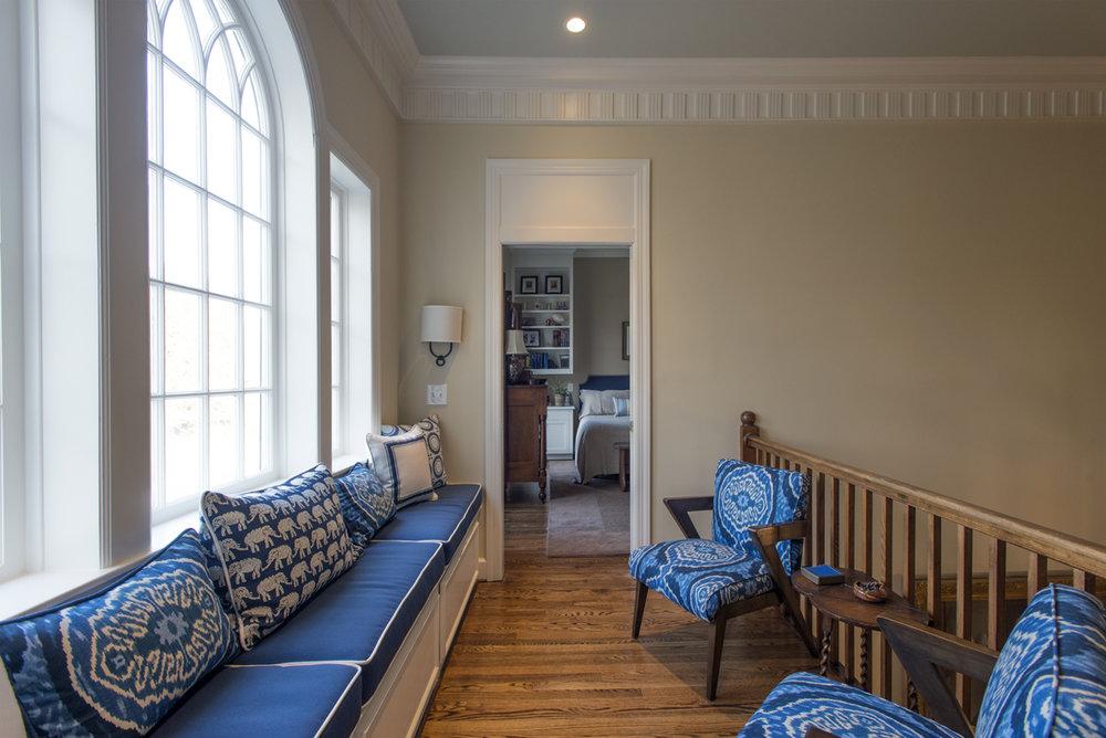 Hallway sitting area, blue window bench