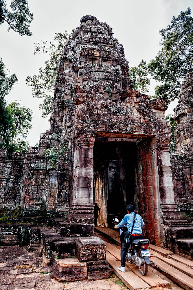 A moped in the temple of Preah Khan