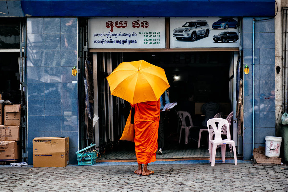 The monk and the cars