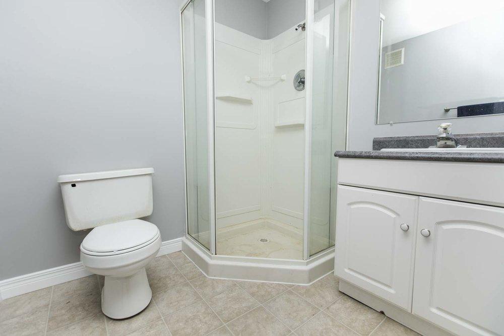 Modern & convenient 3 pc. bathroom in basement.