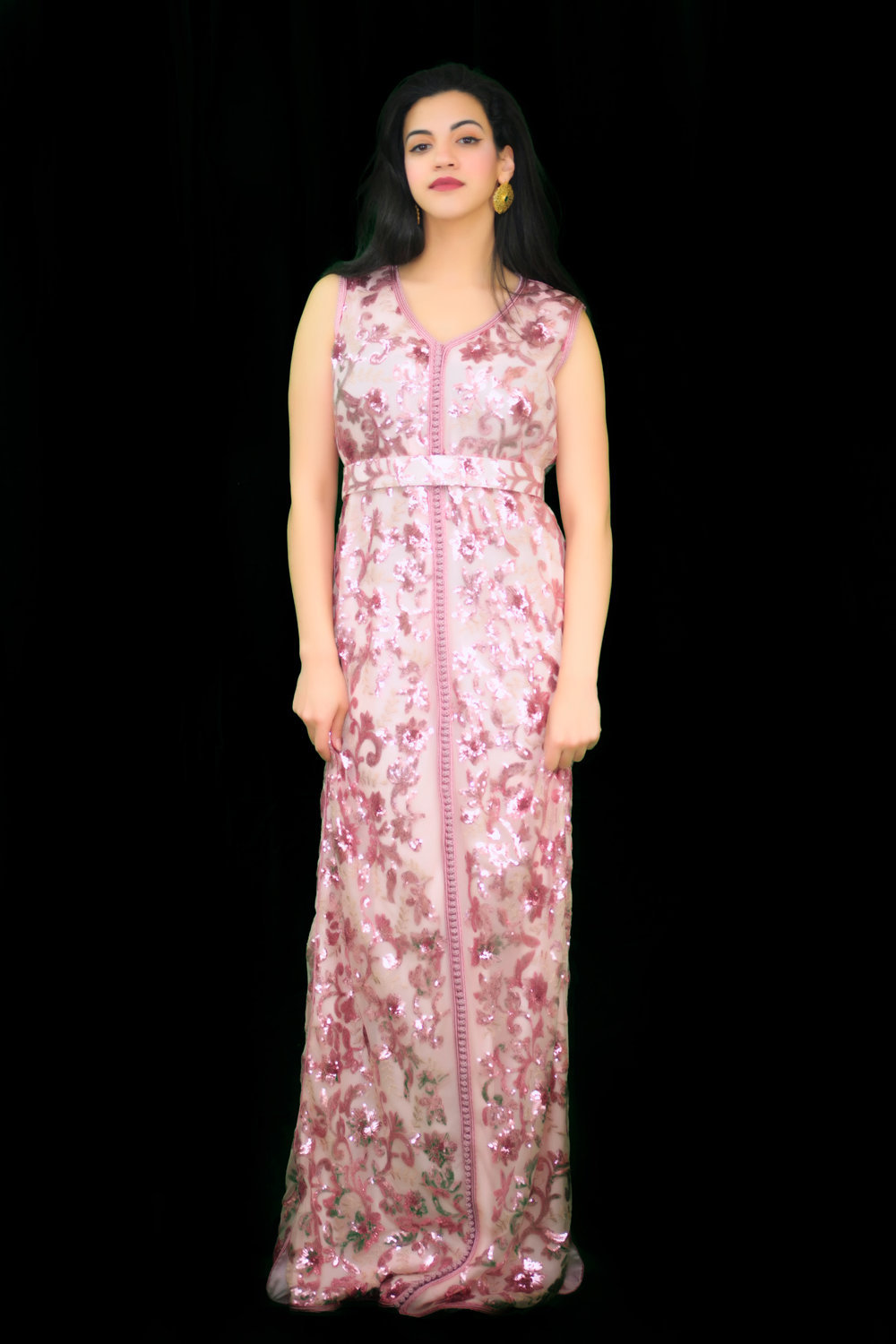 44af72b25f Sold Out: Pink Floral Sequin Elegant Two-Piece Moroccan Takchita ...